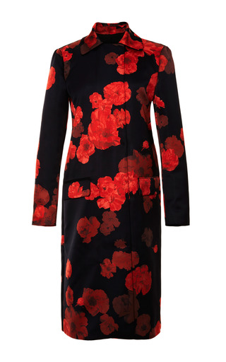 Medium giambattista valli multi long floral print satin coat