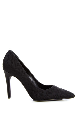 Medium giambattista valli black silk astrakhan pointed toe pump