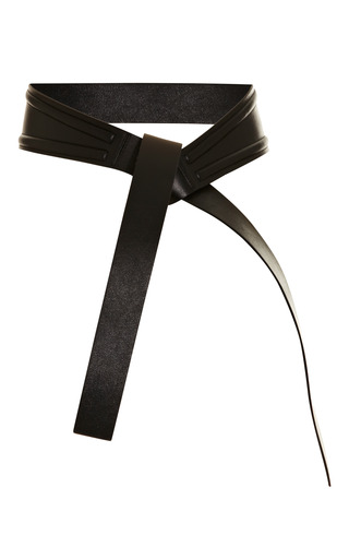 Medium kenzo black leather obi belt