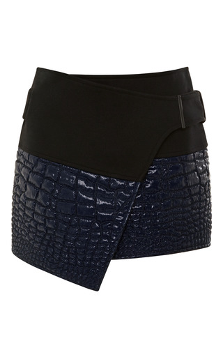 Medium kenzo blue reptile jacquard mini wrap skirt