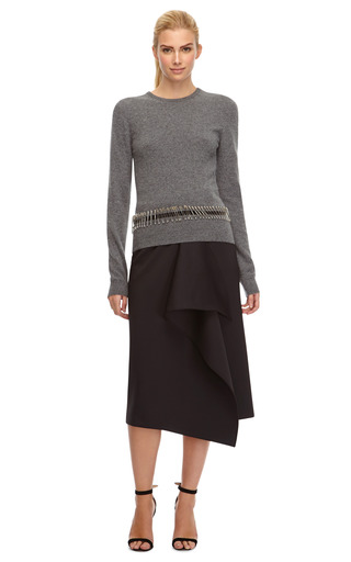 Waterfall Ruffled Neoprene Midi Skirt by KENZO Now Available on Moda Operandi