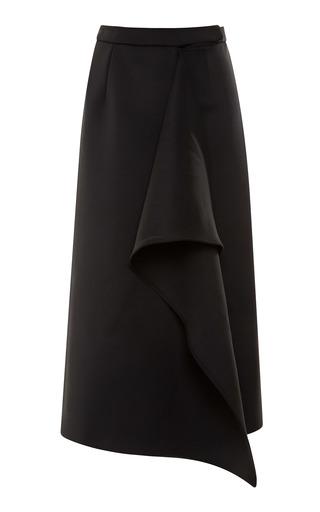 Medium kenzo black waterfall ruffled neoprene midi skirt