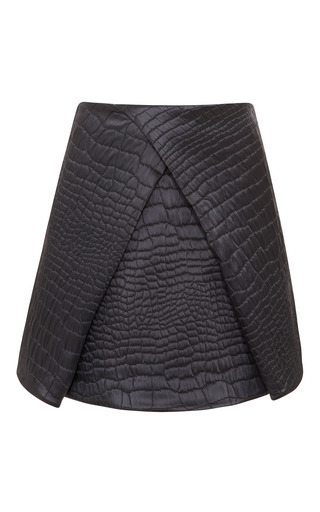 Medium kenzo dark grey quilted satin reptile jacquard skirt