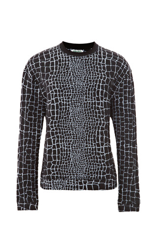Medium kenzo blue reptile print jacquard jersey sweatshirt