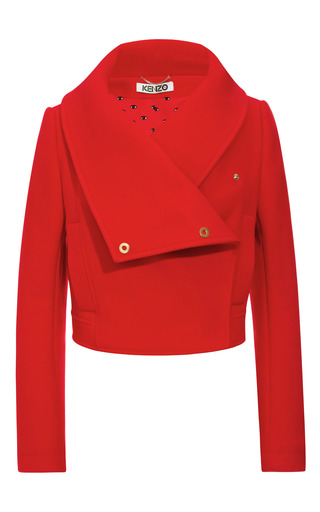 Wool Blend Cropped Jacket With Oversize Collar by KENZO Now Available on Moda Operandi