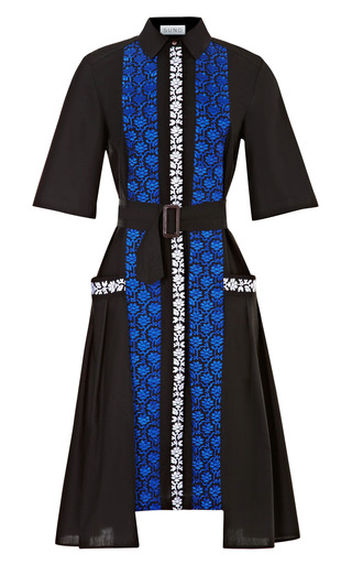 Medium suno black cotton belted shirtdress with embroidery
