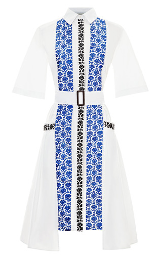 Medium suno white cotton belted shirtdress with embroidery 2