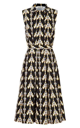 Medium suno black printed dress with pleated skirt