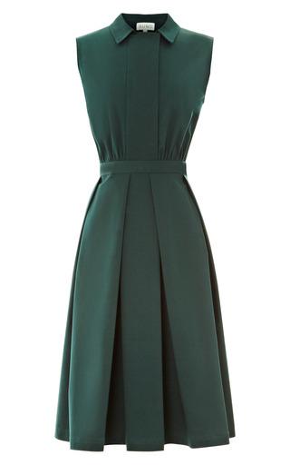 Medium suno green cotton twill dress with pleated skirt