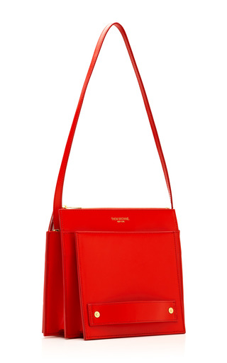 Small Folder Calf Leather Bag by THOM BROWNE Now Available on Moda Operandi