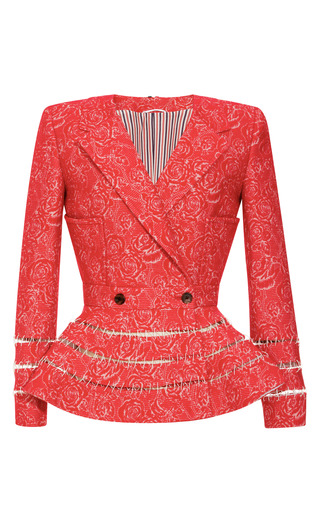 Medium thom browne red ladder stitched peplum jacquard jacket