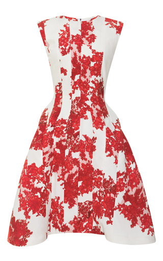 Medium thom browne red lace printed crepe de chine dress