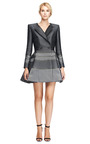 M'o Exclusive: Silk Jacquard Square Shoulder Dress by THOM BROWNE Now Available on Moda Operandi
