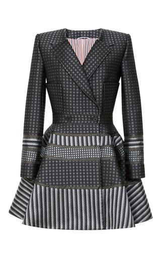 Medium thom browne dark grey mo exclusive silk jacquard square shoulder dress