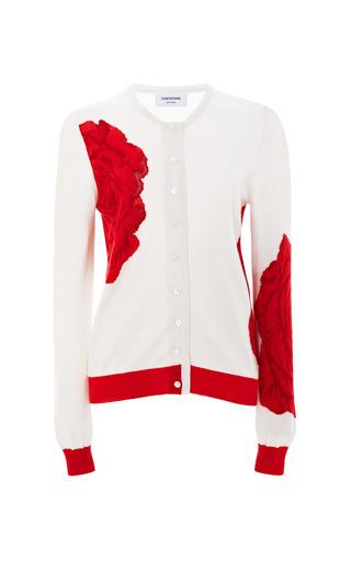Medium thom browne red rose print cashmere cardigan