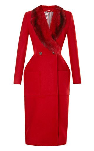 Medium thom browne red structured wool coat with fur collar
