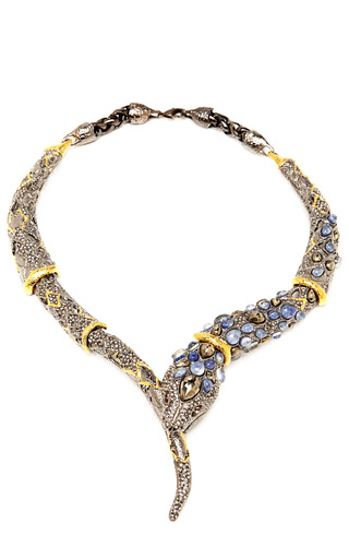 Medium alexis bittar blue jardin de papillon cabochon encrusted necklace