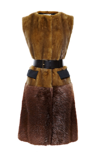 Medium marni brown long mink belted vest