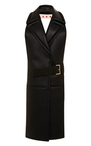 Long Leather Belted Backless Waistcoat by MARNI Now Available on Moda Operandi
