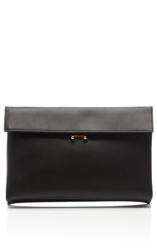 Medium marni black leather foldover pochette