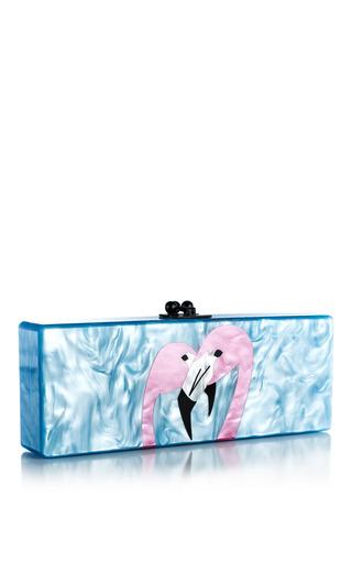 Medium edie parker multi powder blue pearlescent flavia two flamingos