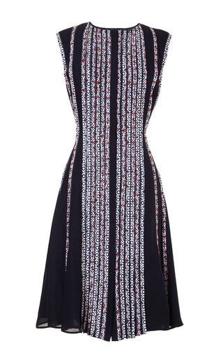 Medium oscar de la renta blue silk ribbon detailed dress