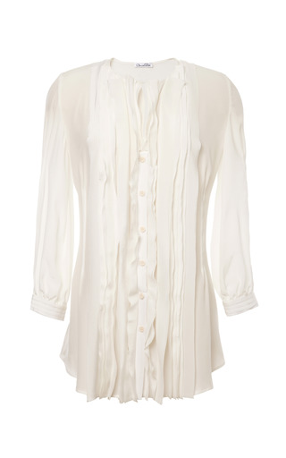 Medium oscar de la renta white ruffled front silk blouse