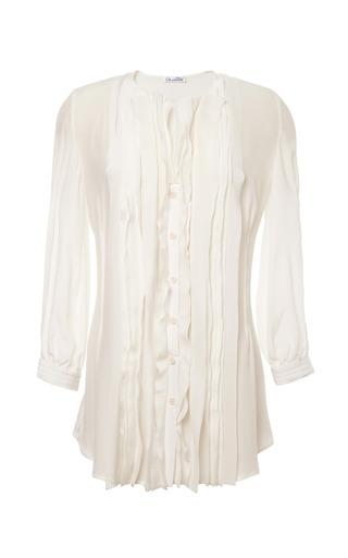 Medium oscar de la renta white ruffled front silk blouse