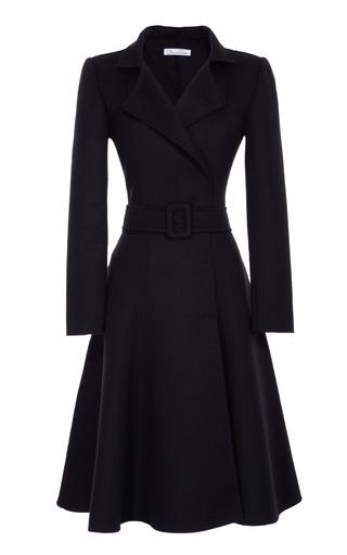 Medium oscar de la renta blue belted full skirted coat