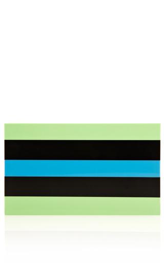 Medium charlotte olympia white pandora clutch in stripes in green
