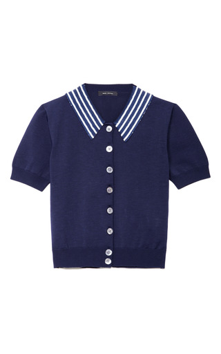Medium marc jacobs navy fine gauge cardigan with sequin striped collar