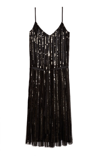 Medium marc jacobs black embroidered stripe sequin eyelet tank dress