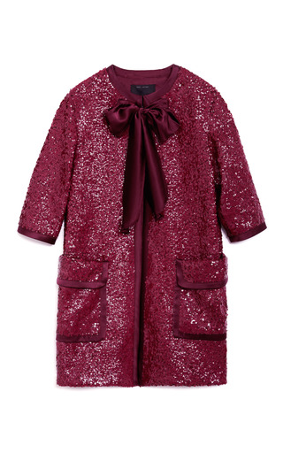 Medium marc jacobs burgundy textured sequin double knit coat