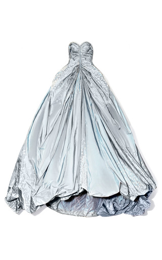Medium zac posen blue butterfly taffeta strapless princess gown