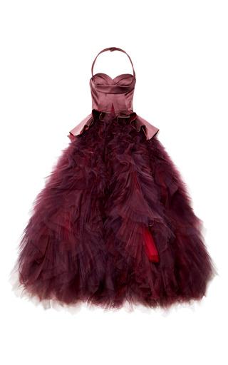 Medium zac posen red stretch duchess halter gown
