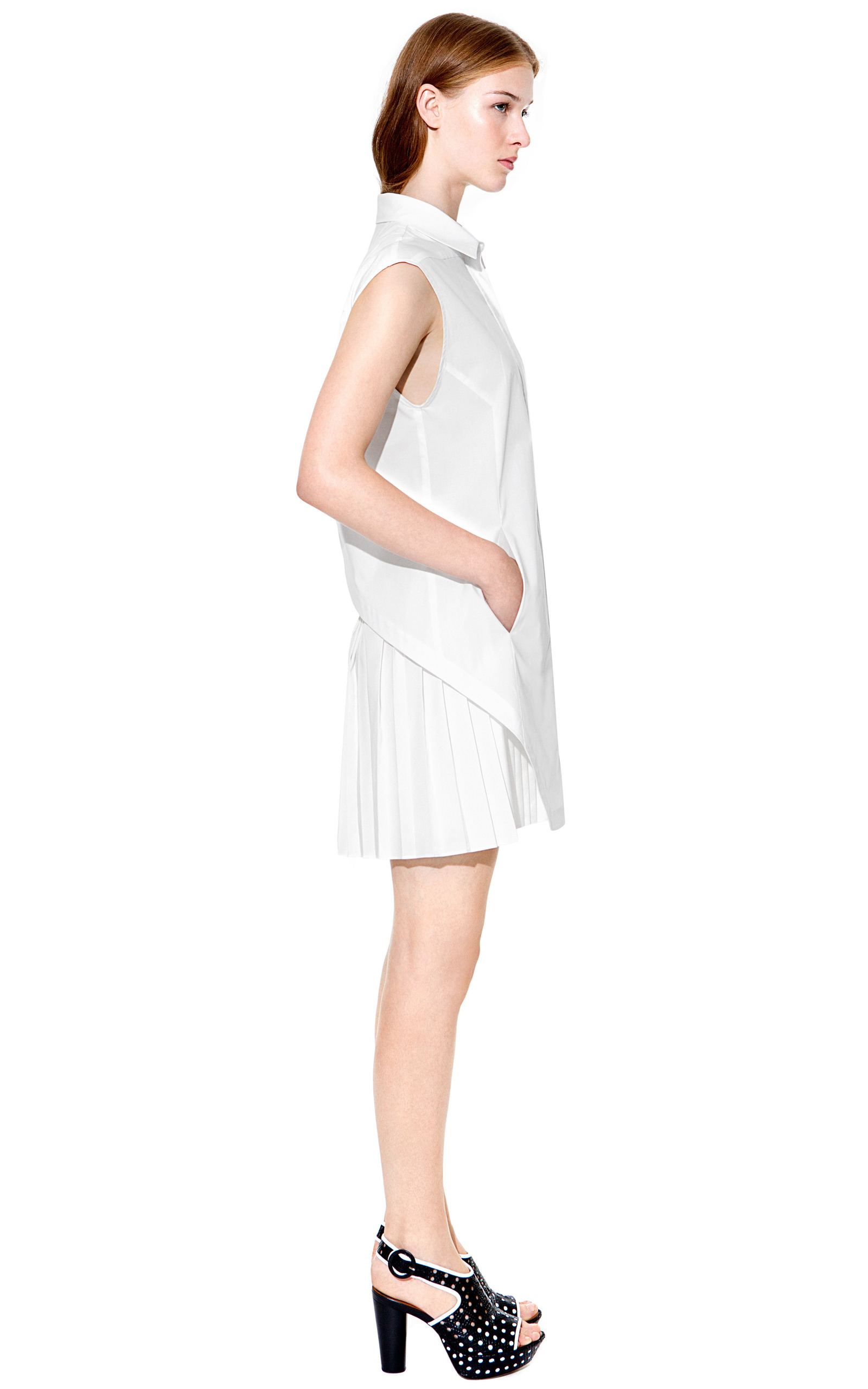 Cotton poplin shirt dress with pleated skirt by derek for Derek lam 10 crosby shirt dress