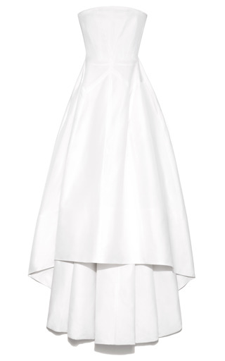 Medium rochas white strapless silk gazar evening dress