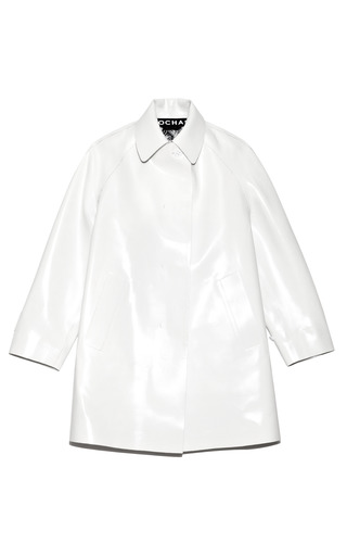 Medium rochas white bonded vinyl overcoat