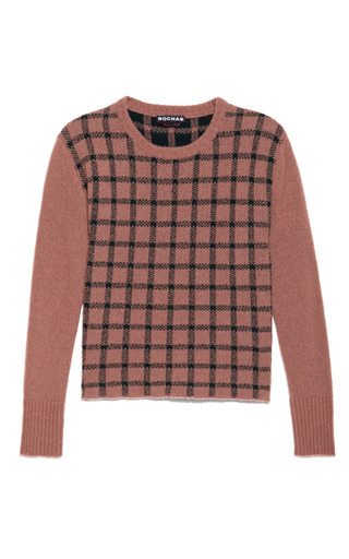 Medium rochas brown long sleeve box check cashmere sweater in hazelnut