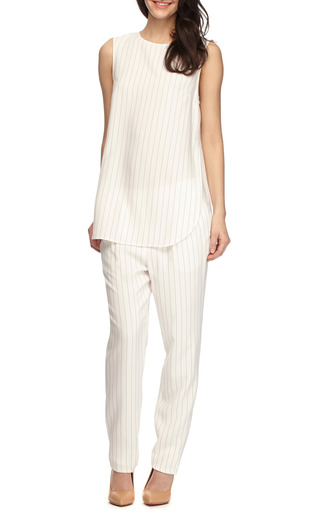 Striped Side Split Silk Crepe Tank by THAKOON Now Available on Moda Operandi
