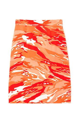 Medium mother of pearl orange vida heavy crepe skirt in orange camo