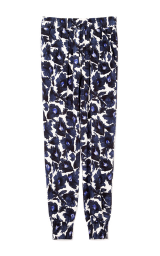 Medium mother of pearl floral rhea heavy crepe de chine joggers