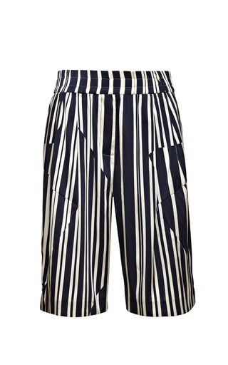 Medium thakoon addition blue long striped satin shorts