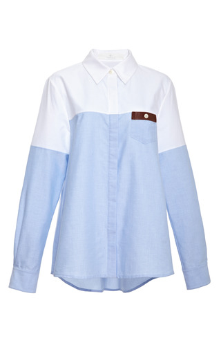 Medium thakoon addition blue color block cotton shirt