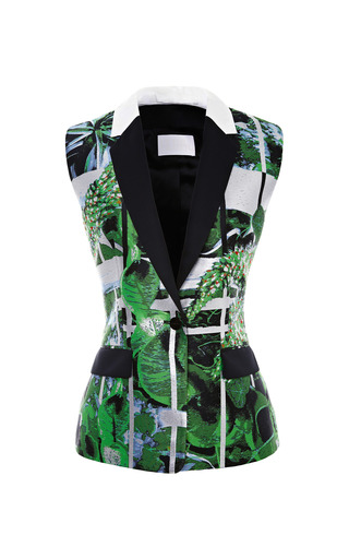 Medium peter pilotto green ikebana printed jacquard vest