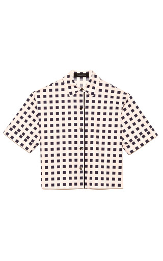 Medium thakoon ivory printed poplin cropped shirt