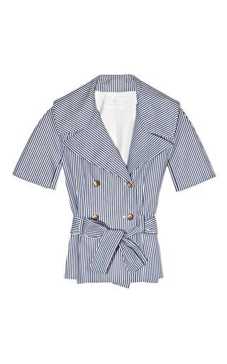 Medium thakoon addition white coated stripe belted cape