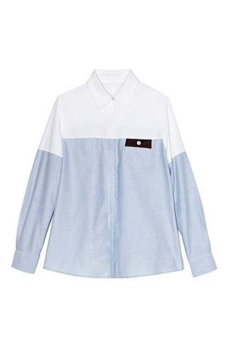 Medium thakoon addition blue color blocked oxford shirting pocket blouse