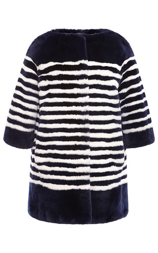 Medium marc jacobs blue striped rabbit fur coat