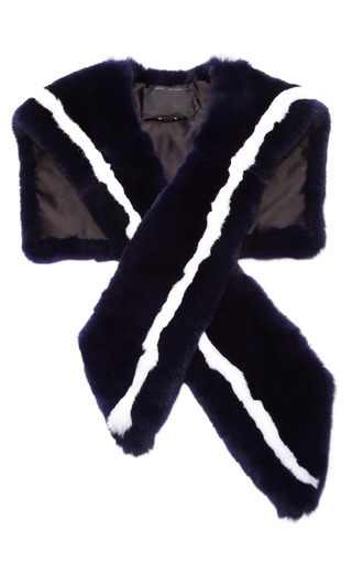 Medium marc jacobs blue striped rabbit fur stole